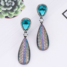 SisCathy Trendy Statement Water Drop Earrings For Women Fashion Jewelry Charms Multicolor Cubic Zirconia Dangle 2019