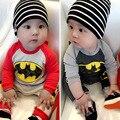 Novas Roupas de Bebê Nascidos Romper Do Bebê de Manga Longa de Algodão de Lã Da Criança Bebe Macacões Batman Traje 2017 Outono Bebê Menino Roupas