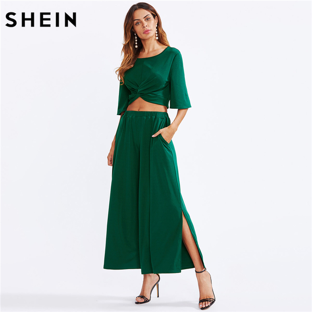cce0b9e5fec7 SHEIN Two Piece Set Green Twist Front Half Sleeve Crop Top With Slit  Palazzo Pants Set