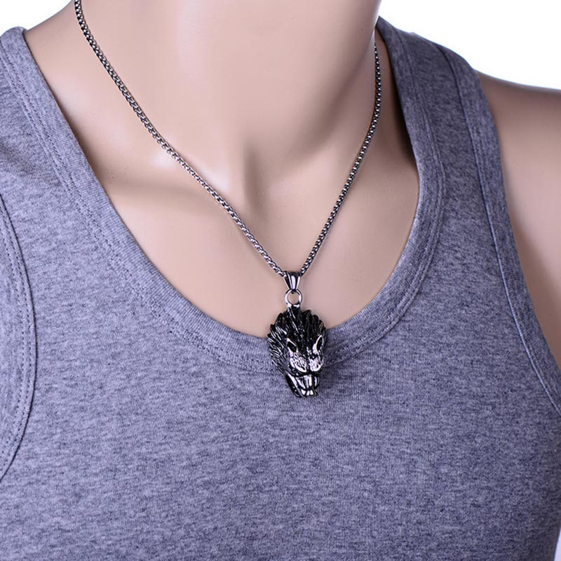 Stainless Steel Punk Wolf Necklace