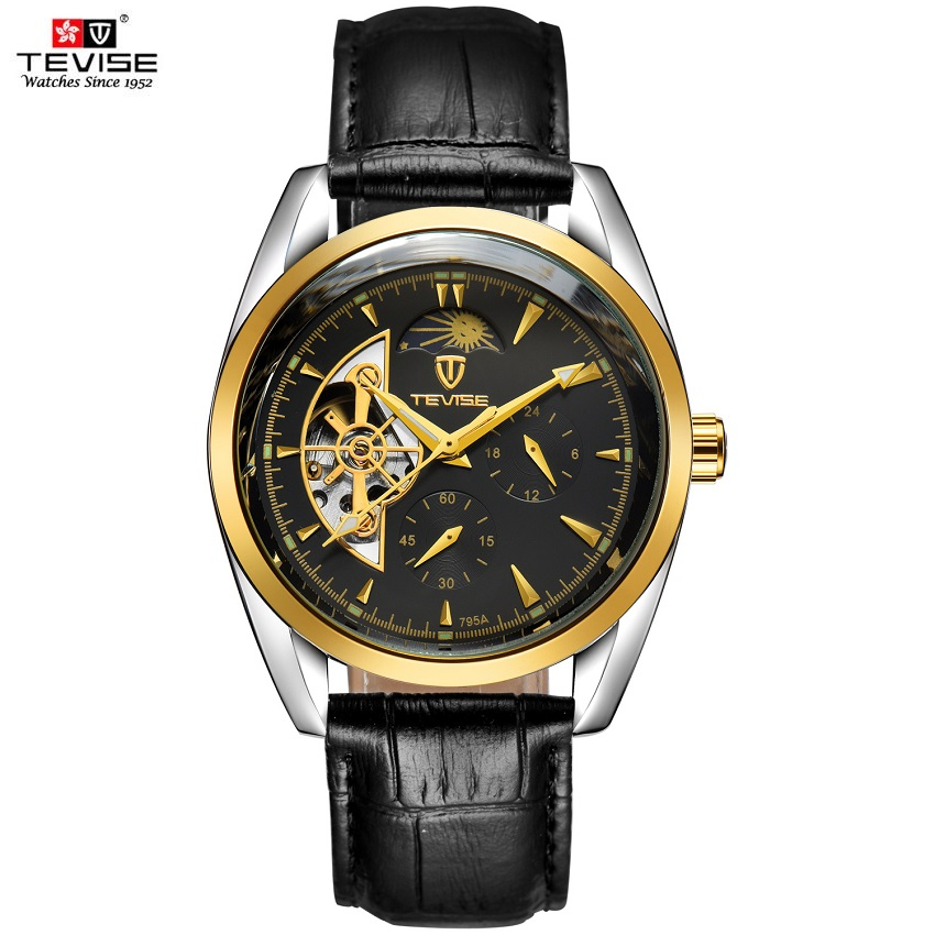 TEVISE Automatic Mechanical Watches Men Tourbillon Waterproof Moon Phase Man Watch Luminous Male Clock Leather Male Hour 2017 tevise men automatic self wind mechanical wristwatches business stainless steel moon phase tourbillon luxury watch clock t805d