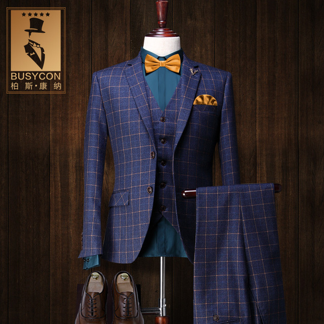 Cajerin Vintage Royal Blue Mens Plaid Suits Wedding Tuxedo Groom ...