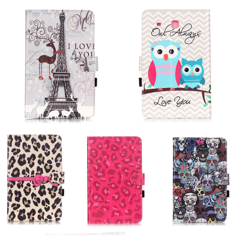 YH Printed Flip Stand Skull Cute OWI Leopard PU Leather Cover Case For Samsung galaxy Tab E 9.6 inch Tablet T560 T561 SM-T560 new fashion tab s3 9 7 tablet case pu leather flip cover for samsung galaxy tab s3 9 7 inch t820 t825 cute stand cover 6 colors