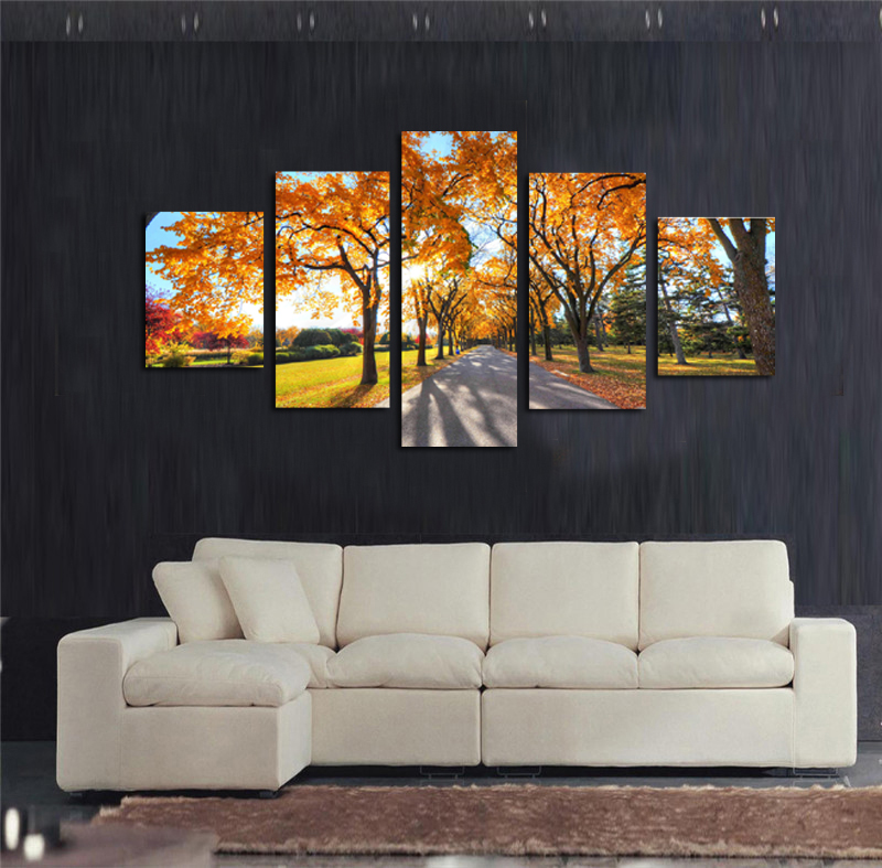 Hd Printed Oil Paintings 5 Panel Wall Art Framed Pictures Tree Of Life Painting For Sale