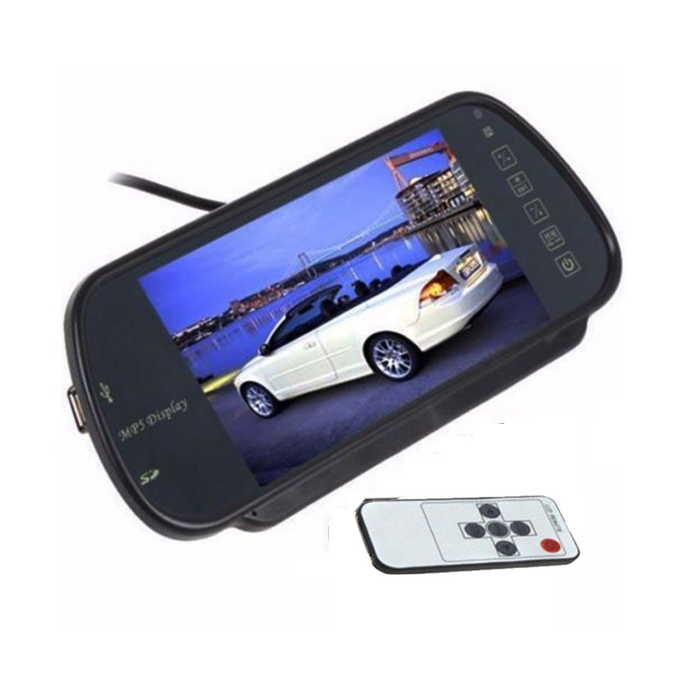 7 TFT LCD Monitor Digital For Car Rear View Monitor with IR Remote control SD Port&USB jack Built-in FM Transmitter Video Input