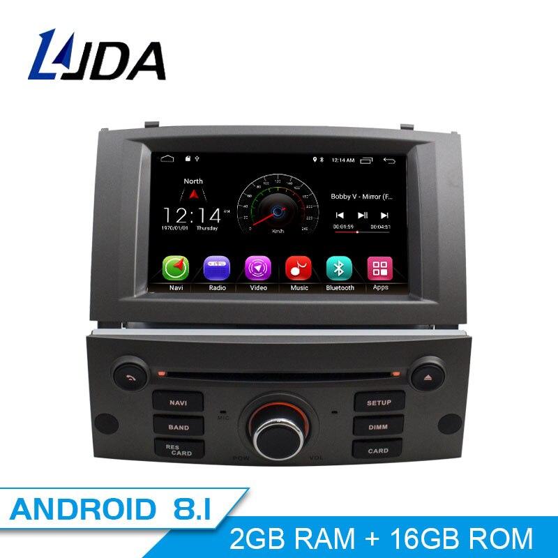 LJDA 1 Din Android 8.1 Autoradio Pour Peugeot 407 2004-2010 Voiture Multimédia Lecteur Stéréo Auto Audio GPS navigation DVD Vidéo IPS