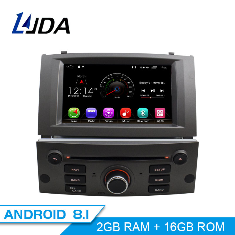 LJDA 1 Din Android 8 1 Car font b Radio b font For Peugeot 407 2004