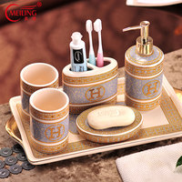 Luxury Ivory Porcelain Bathroom Set Gold Home Decor Toothbrush Holder Soap Dispenser Storage Tray Toilet Accessories Organizers