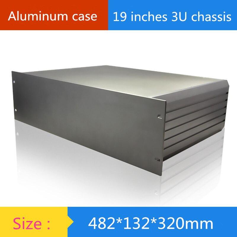 19-inch 3U aluminum chassis / Instruments chassis /amplifier case /AMP Enclosure / case / DIY box ( 482*132*320 mm) 1 piece 3 u chassis rack mount chassis aluminum project box aluminum enclosure 132 h x482 w x250 l mm