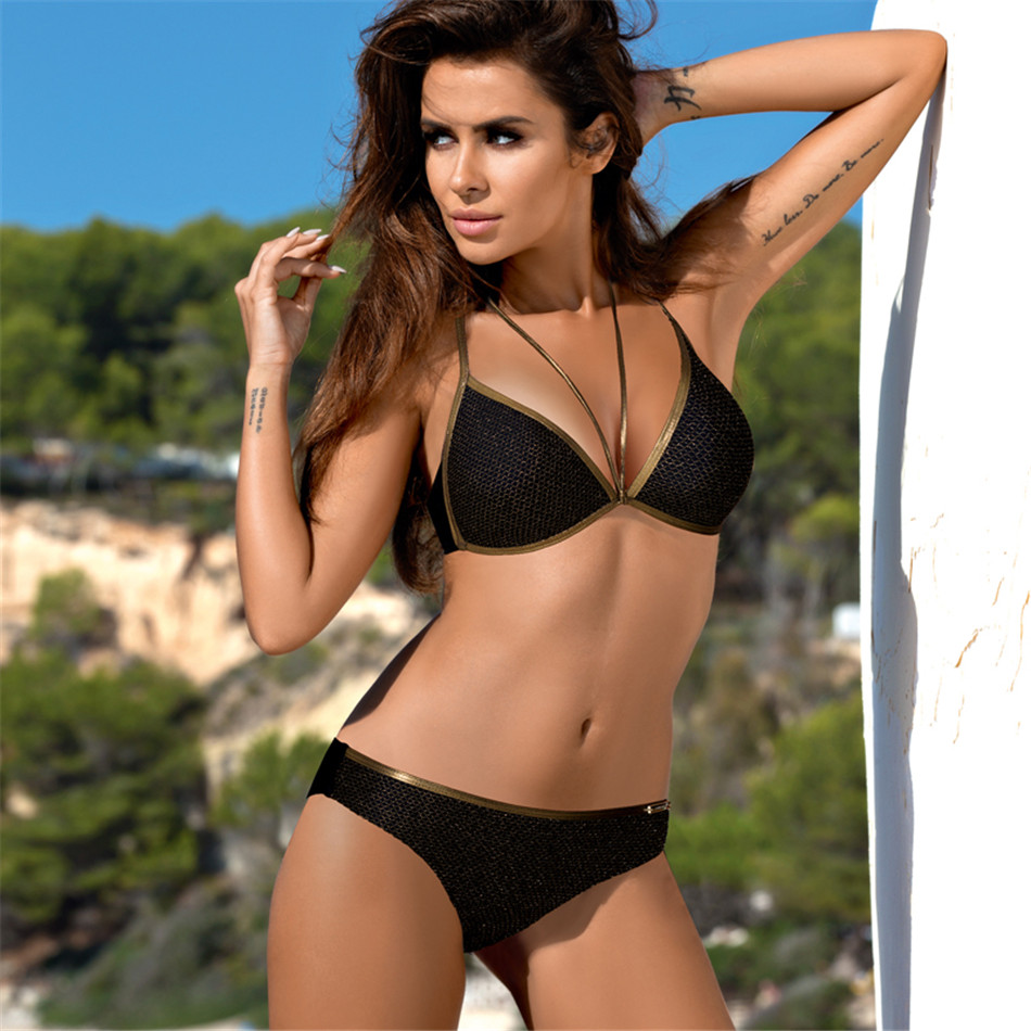 Push Up Bordered Bikini Set Vintage Women Swimwear Sexy Padded Swimsuit Bikini Set Summer Women's Swimming Suit Beachwear