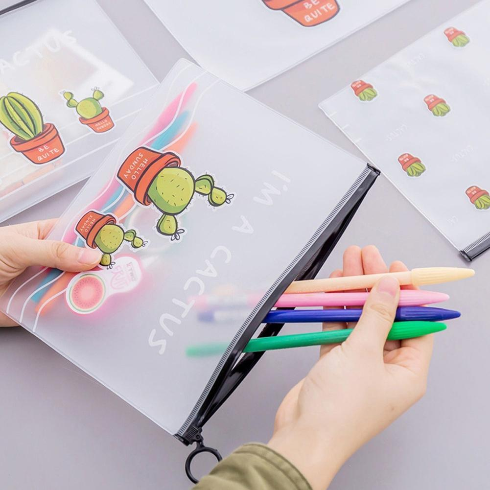 Cute Cactus Pen Pouch Pencil Case Stationery Storage Zipper Bag Student Gift