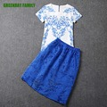 Summer Elegant Women Two Piece Top set Porcelain Print White Shirt Short Sleeve Blouse Blue Organza Skirt suits Fashion Lady set