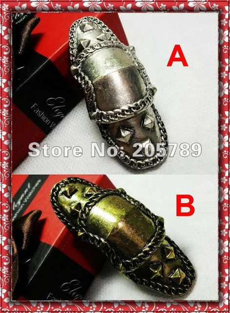 New arrival Vintage Armor Knuckle Hinged rings Punk rivets top double ring,unisex 2colors in 1piece/lot  Free shipping