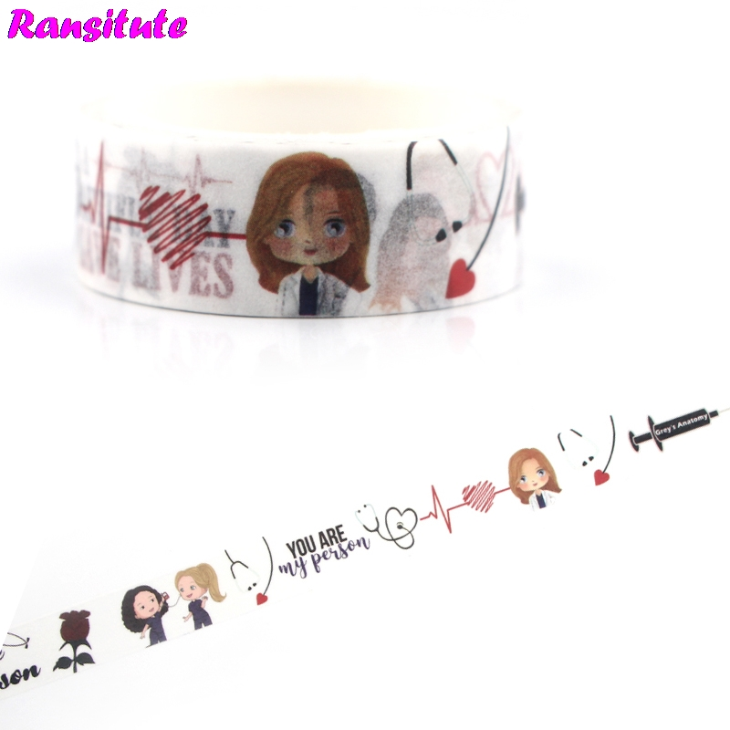 Ransitute R473 Grey's Anatomy Color Washi Paper Tape Manual DIY Decoration Masking Tape School Supplies