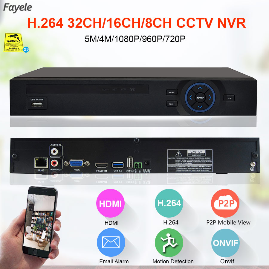 Security 16CH 25CH 5MP 4MP 4K 32CH NVR HD IP 1080P 1.2U Hi3535 Hi3536C Processor 3G WIFI H.265 CCTV Video Recorder onvif P2P