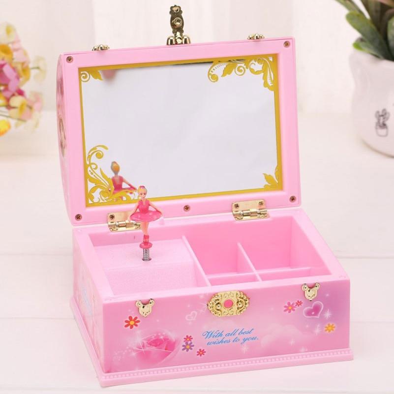 Pink Beautiful Handbag Music Box Rotating Ballet Dancer Girls Gifts for Children Jewelry Organizer Make Up Box Portable Musical