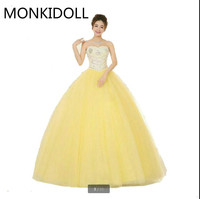 Latest style ball gown yellow heavily crystals sparkly prom dress strapless sweetheart neck puffy formal prom dresses best sale