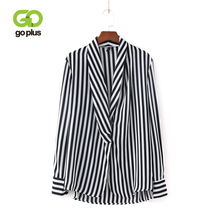 GOPLUS Plus Size Striped Shirt 2019 Office Lady Elegant Long Sleeve Deep V Neck Blouse Summer Sexy Women Tops And Blouses C7564