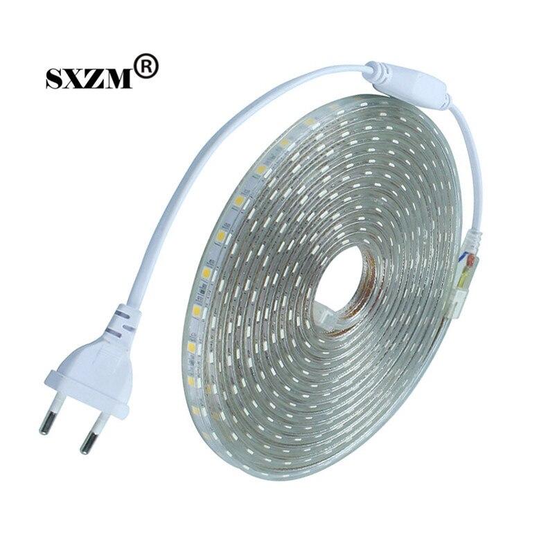 Waterproof SMD5050 led tape AC220V flexible led strip 60 leds/Meter outdoor garden lighting with EU plug