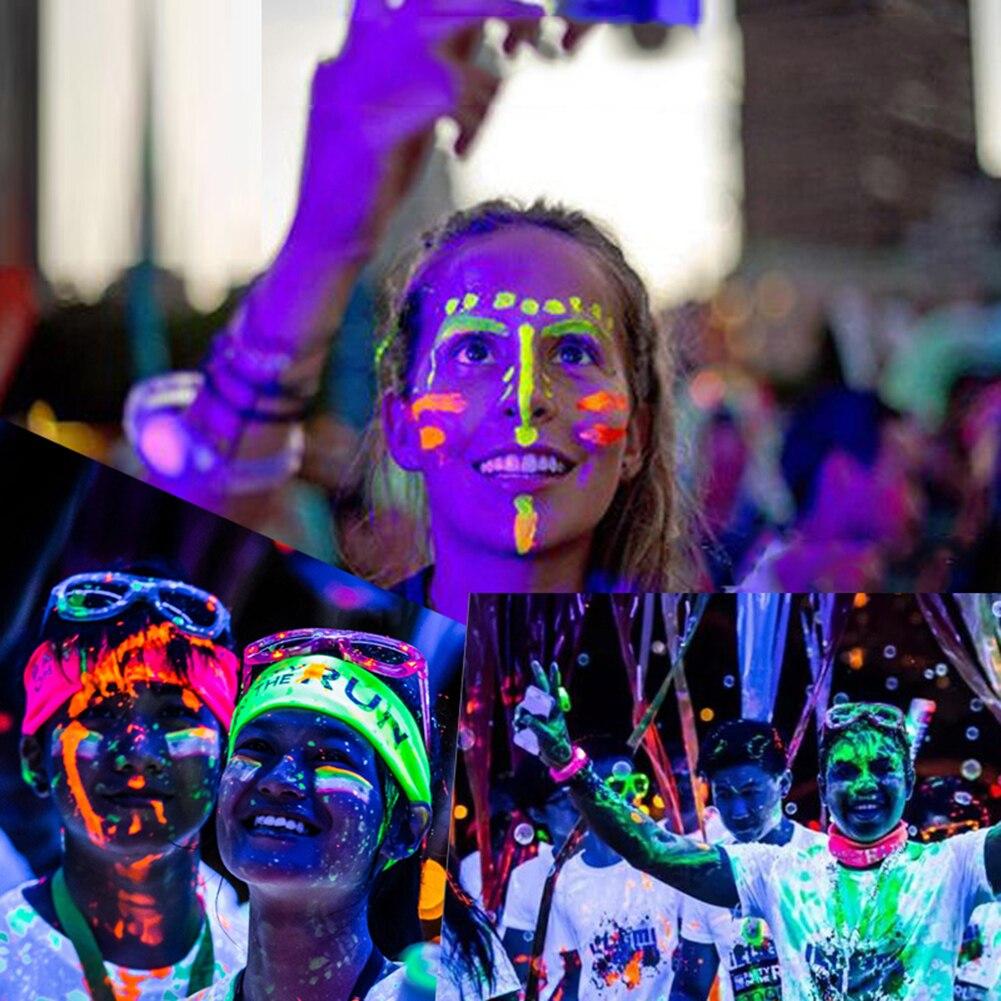 Nuit du visage lumière peinture maquillage lumineux Fluorescent corps  peinture Pigments visage corps tatouage henné Festival corps Art  peinture,in Peinture