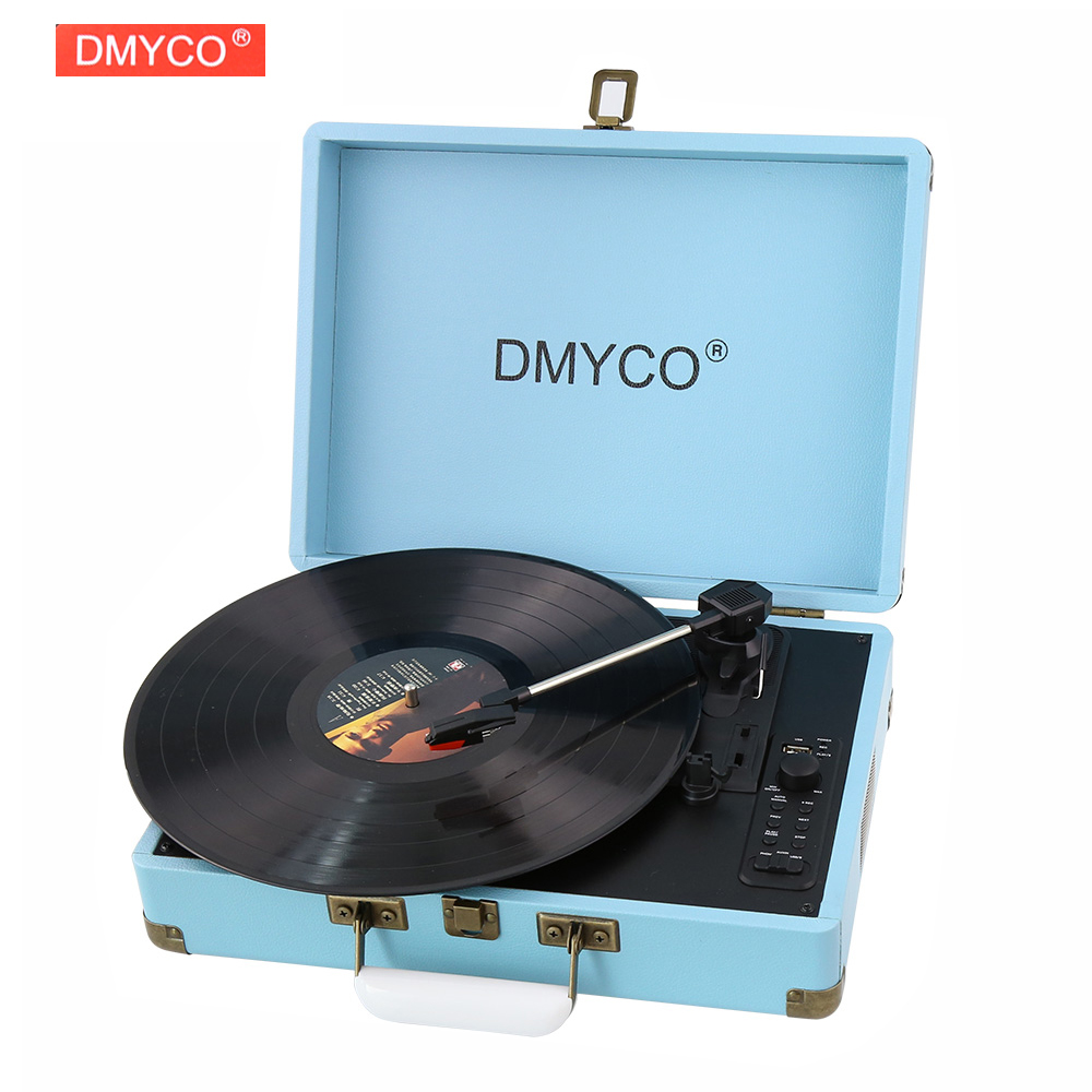 DMYCO Bluetooth Portable Turntable Record Player Case RCA Built-in 3 Speed stereo speakers USB with Phono Pre-Amplifier 220V