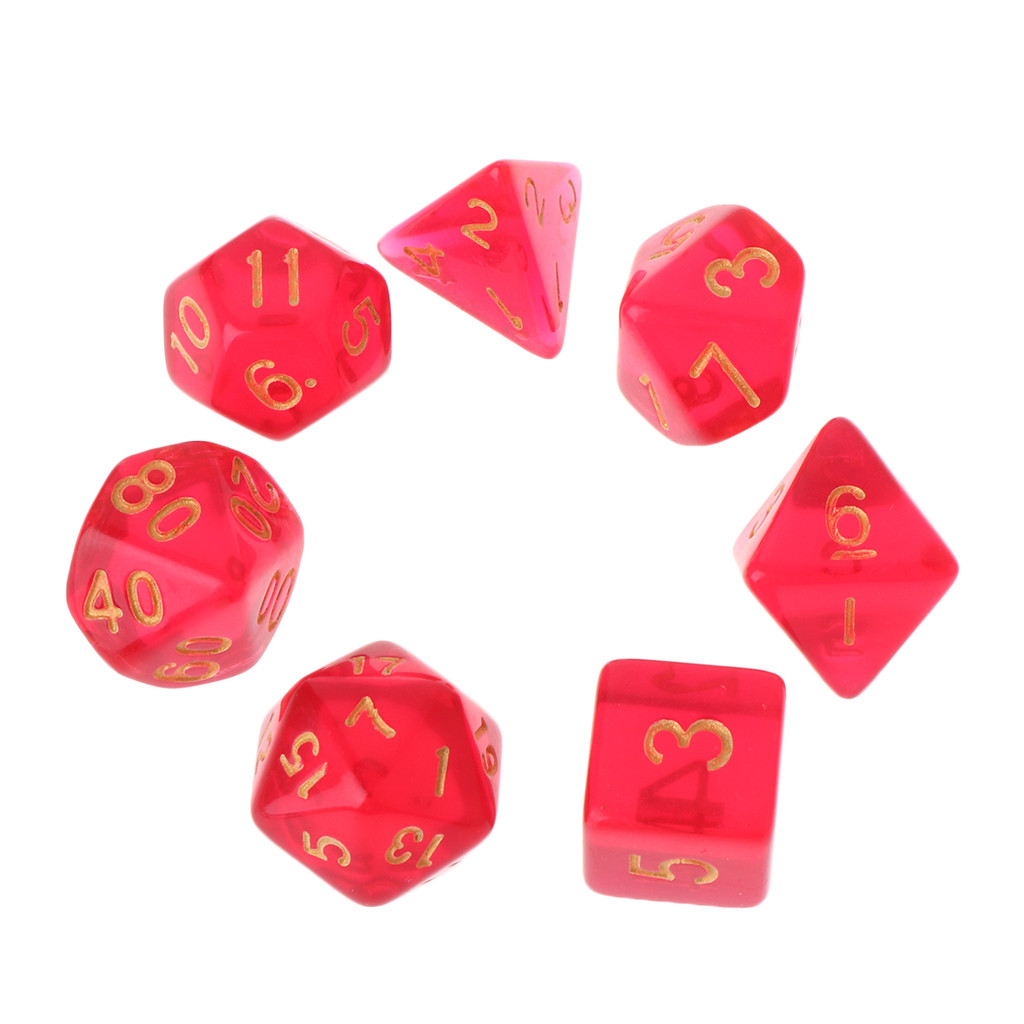 7pcs Transparent Sided Dice D4 D6 D8 D10 D12 D20 For Dungeons & Dragon RPG Poly Table Board Game Set