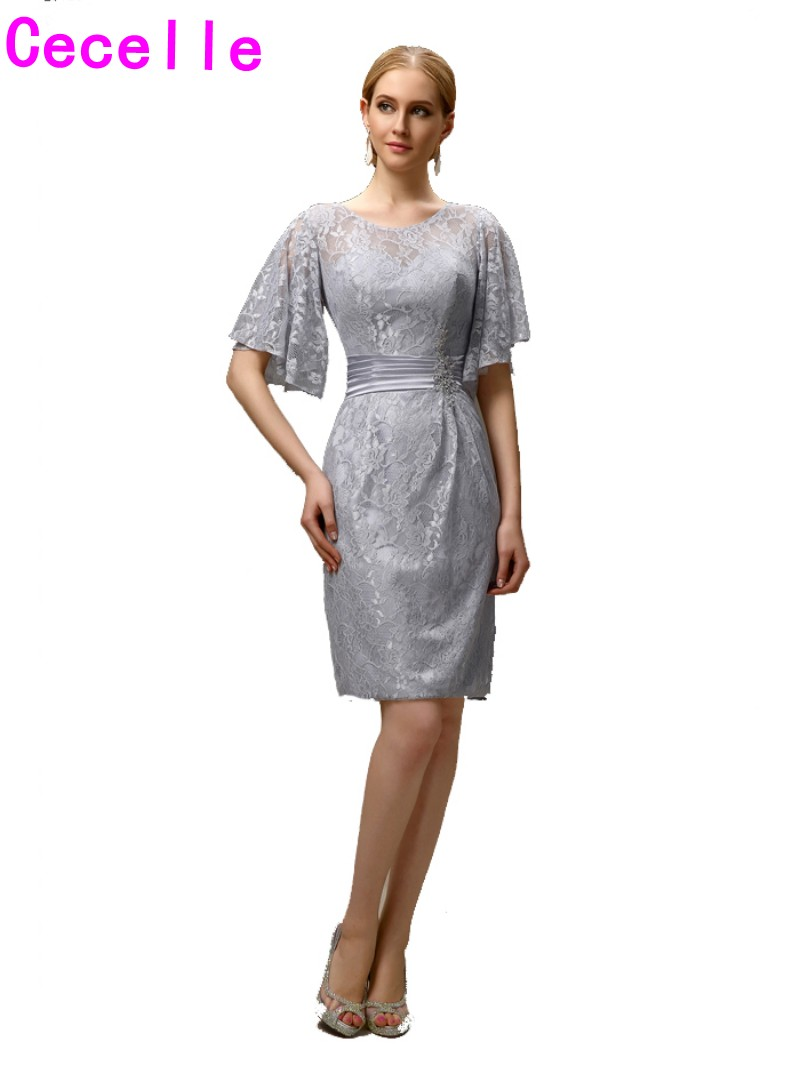 silver grey short casual sheath lace mother of the bride groom dresses with sleeves knee length