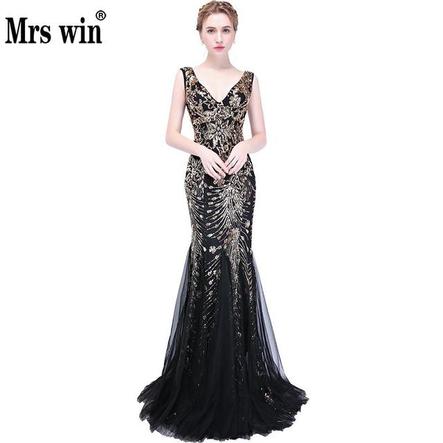 Vestidos Largos Elegantes 2018 New The Banquet Sexy V-neck Mermaid Vintage  Evening Dresses Bling Bling Formal Dresses Womens F ab841e02dacf