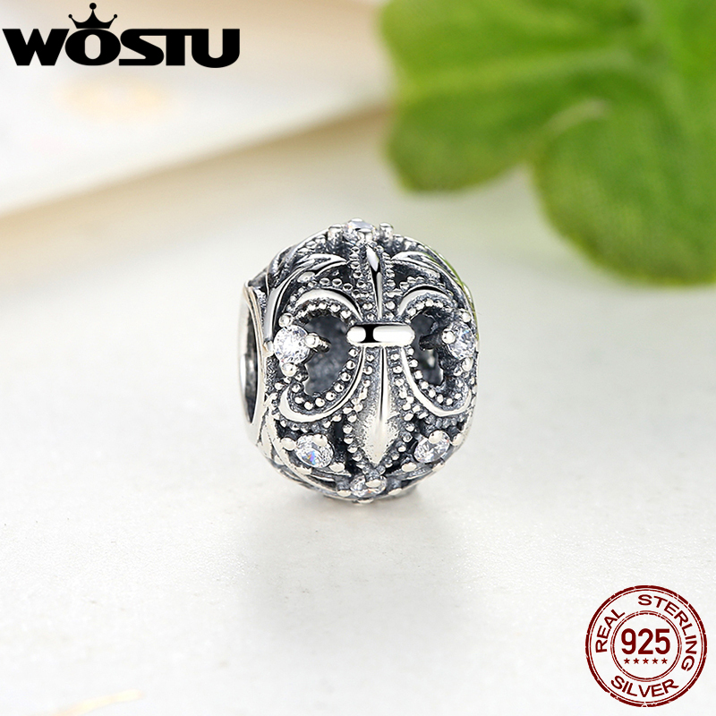 Hot Sale 925 Sterling Silver Fleur-De-Lis Original Charm With Clear CZ Fit WST Bracelet Necklace Authentic DIY Jewelry