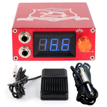Tattoo Aluminum Digital LCD Display Red Color P106 Tattoo Power Supply+Foot Pedal+Clip Cord P106
