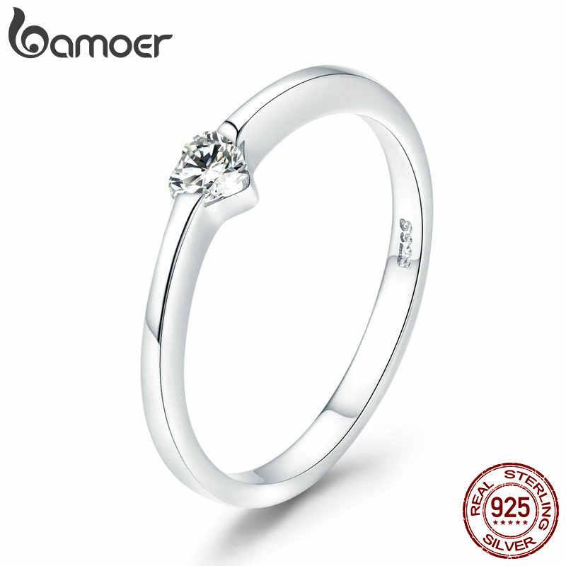 BAMOER เงินคู่แหวนเงิน 925 รักหมั้นงานแต่งงานของขวัญเครื่องประดับสำหรับเธอขนาดเล็กแหวน GXR468