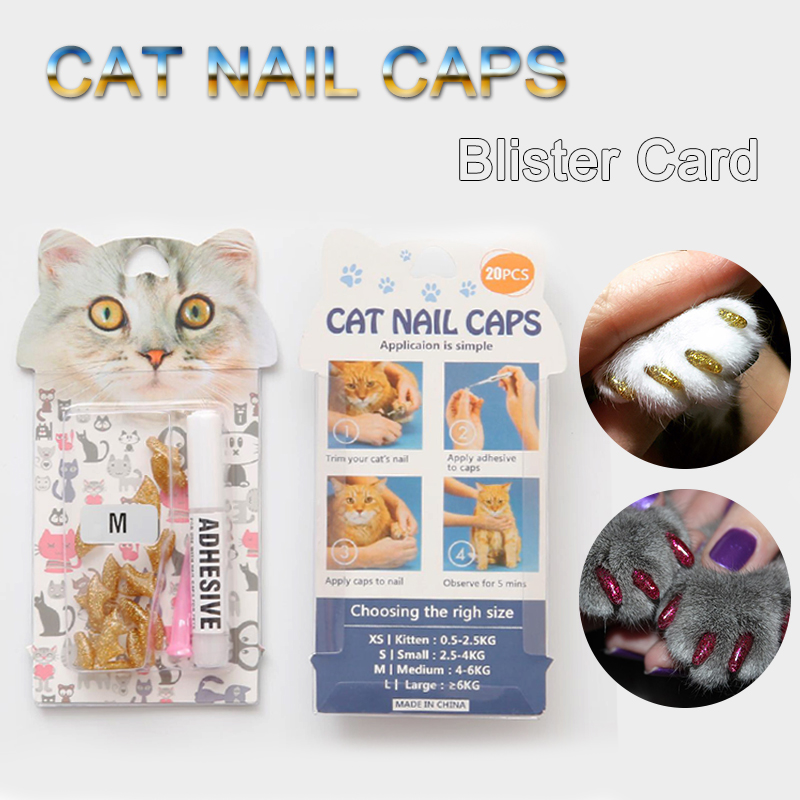 20 Pcs /lot Blister Card Soft Anti-scratch Silicone Cat Nail Caps Pet Paw Claw Protector Grooming With Free Glue And Applicator