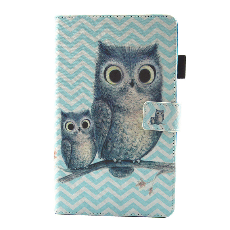 Cartoon Animal Cat Owl Dog Panda PU Leather Flip Case For Samsung Galaxy Tab A 8.0 (2017) T380 T385 Tablet Case Stand Cover Case