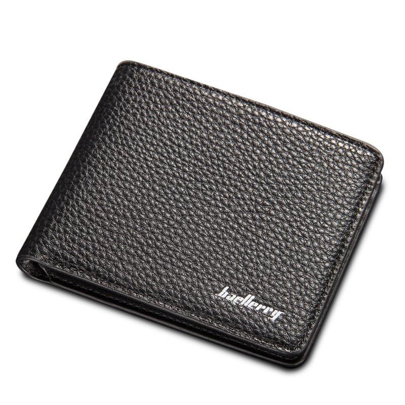 Baellerry New Men Business Wallets Korean Short Cross Vertical Litchi Grain Quality Soft PU Leather Purse Wallet Free Shipping