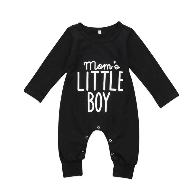 2ce49b15f177d Emmababy Newborn Infant Baby Boys mom's little boy letter warm Long Sleeve  Rompers bebe kids children