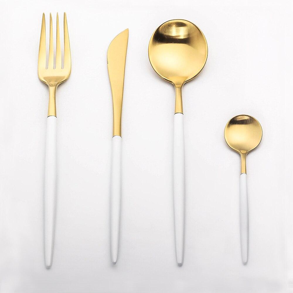 lekoch oro juego de manijas blanco juego de cubiertos tenedor cuchillo vajilla de