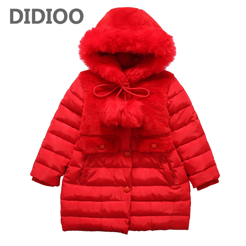 Girls Parkas Cotton-padded Coats for Kids Solid Outerwear Girls Warm Fluffy Coats Infant Hooded Clothes 4 10 12 Years Child Coat baby girls parkas 2017 winter thick outerwear casual coats children clothing kids clothes solid thicken cotton padded warm coat