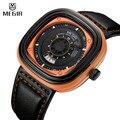 Nuevo Diseño MEGIR Cuarzo Del Mens Relojes de Lujo Del Deporte Del Ejército Militar reloj Análogo de cuero Negro Relojes de Pulsera Relogio masculino