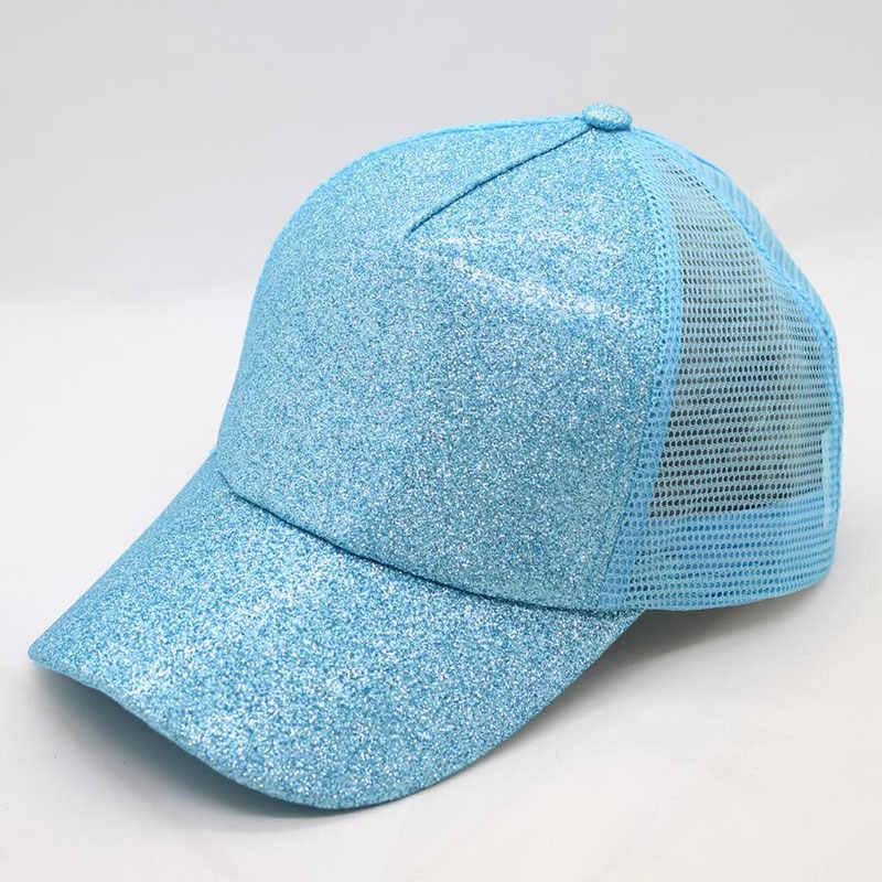 90ee390222f ... Women s Hat Glitter High Ponytail Hole Cap 5 Panel Mesh Trucker Baseball  Cap Gold Silver White