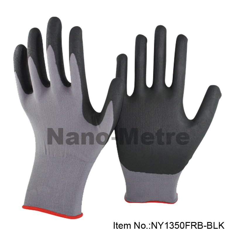 NMSafety 15 gauge high quality safety gloves micro foam nitrile dipped gloves