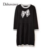 Dabuwawa Black Autumn Winter Casual Knitting Dress Long Sleeved Sweater Dress A Line Printed Dress Vestido