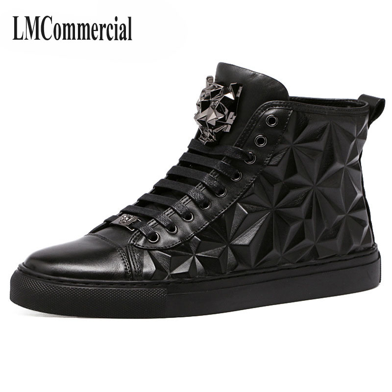 New high shoes men embossed leather men's shoes casual shoes men England Martin boots boots fashion personality 2017 new spring imported leather men s shoes white eather shoes breathable sneaker fashion men casual shoes