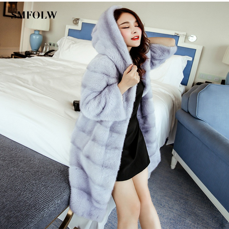 SMFOLW 2018 Fashion Popular Faux Fur Coat Women Fur Coat Elegant Women Long Fur Coat Women Coat Imitation Mink Fur Jacket pearl beading faux fur coat