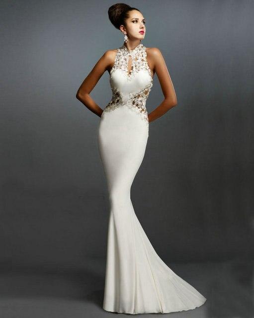 6bb37ce98 Cuello alto vestidos formales largos vestidos de noche de espalda abierta  del Applique del satén del
