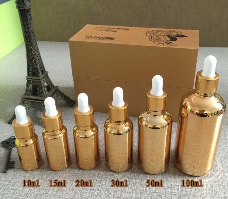 100pcs gold small 10ml dropper bottle wholesale empty glass