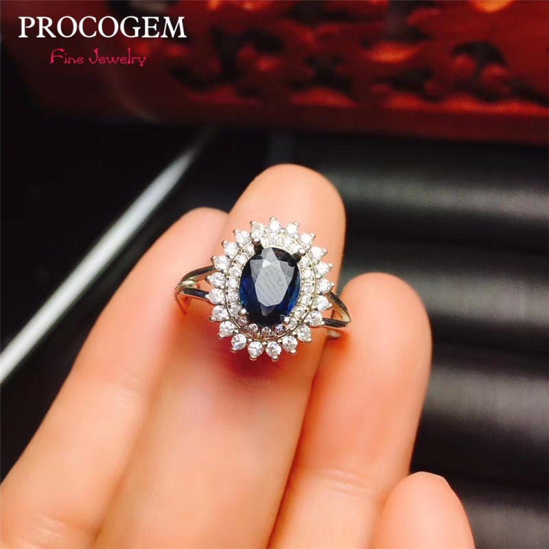 Natural Sapphire Rings for women Anniversary gifts 6x8mm 1.55Ct Genuine blue gems New fine Jewelry 925 Solid silver #631Natural Sapphire Rings for women Anniversary gifts 6x8mm 1.55Ct Genuine blue gems New fine Jewelry 925 Solid silver #631
