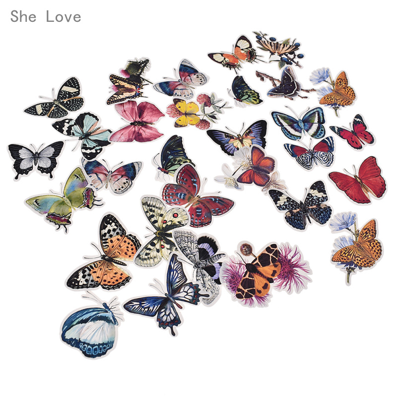She Love 31pcs Butterfly Scrapbooking Stickers Decorative ...
