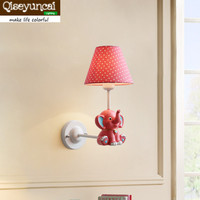 Qiseyuncai 2018 new Nordic Village Simple Small Fresh Elephant Small Hedgehog Wall lamp Children's Room Bedroom Lamps Lighting