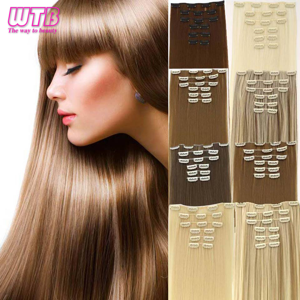 Hot Sale Wtb Long 24 Inch Striaght Real Thick Full Head Clip In Hair