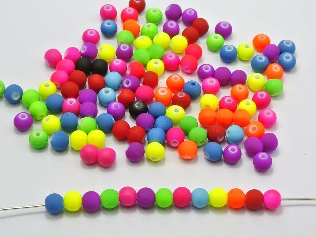 500 Смешанные матовые флуоресцентные Неоновые бусины, акриловые круглые бусины 6 мм (0,24 дюйма)